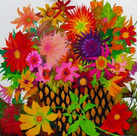 A medley of flowers painted by Liz Bradley