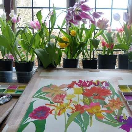 Lix Bradley;s flower painting studio