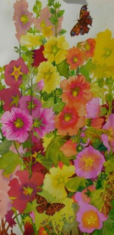 Hollyhocks with a butterfly painted by Liz Bradley