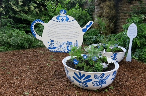 Giant tea bowls planted with tea plants.Geffrye Museum