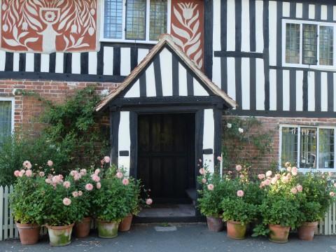 A fine display of dahlias greets visitors to Calico House, Newnham, a pretty Kentish village.