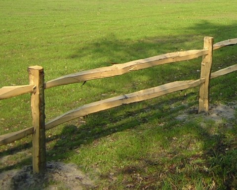 Smart and sturdy post and rail fencing.  Split lengths of chestnut are slotted horizontally into morticed posts. It is robust enough to contain cattle.