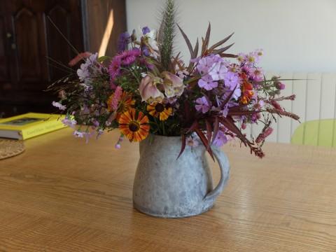 An ravishing flower arrangement by Lucy Goffin, the well known textile designer.