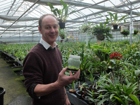 Jim Durrant, the doyen of orchid growers, holding a flask of dozens of little orchids.