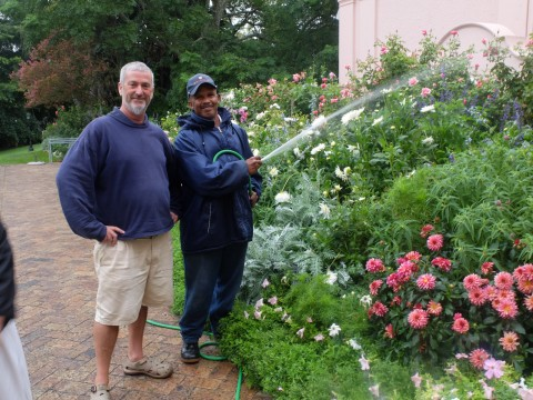 Paul Rice, Head Gardener at the Mount Nelson Hotel, Cape Town more than three decades and William, one of his six assistant gardeners.