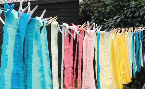 Tissue paper drying in Sarah Close-Brooks garden.