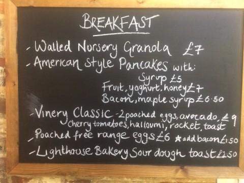menu at Vinery Cafe