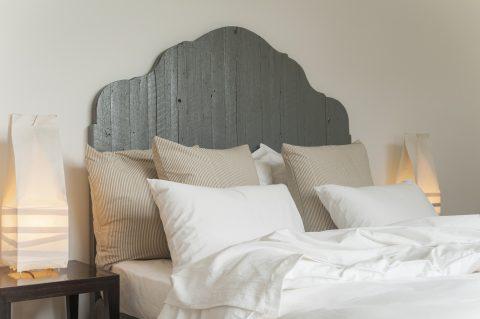 aloe vera white bedding with ticking pillows