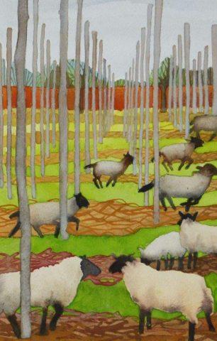 Sheep in a hop garden painted by Liz Bradley
