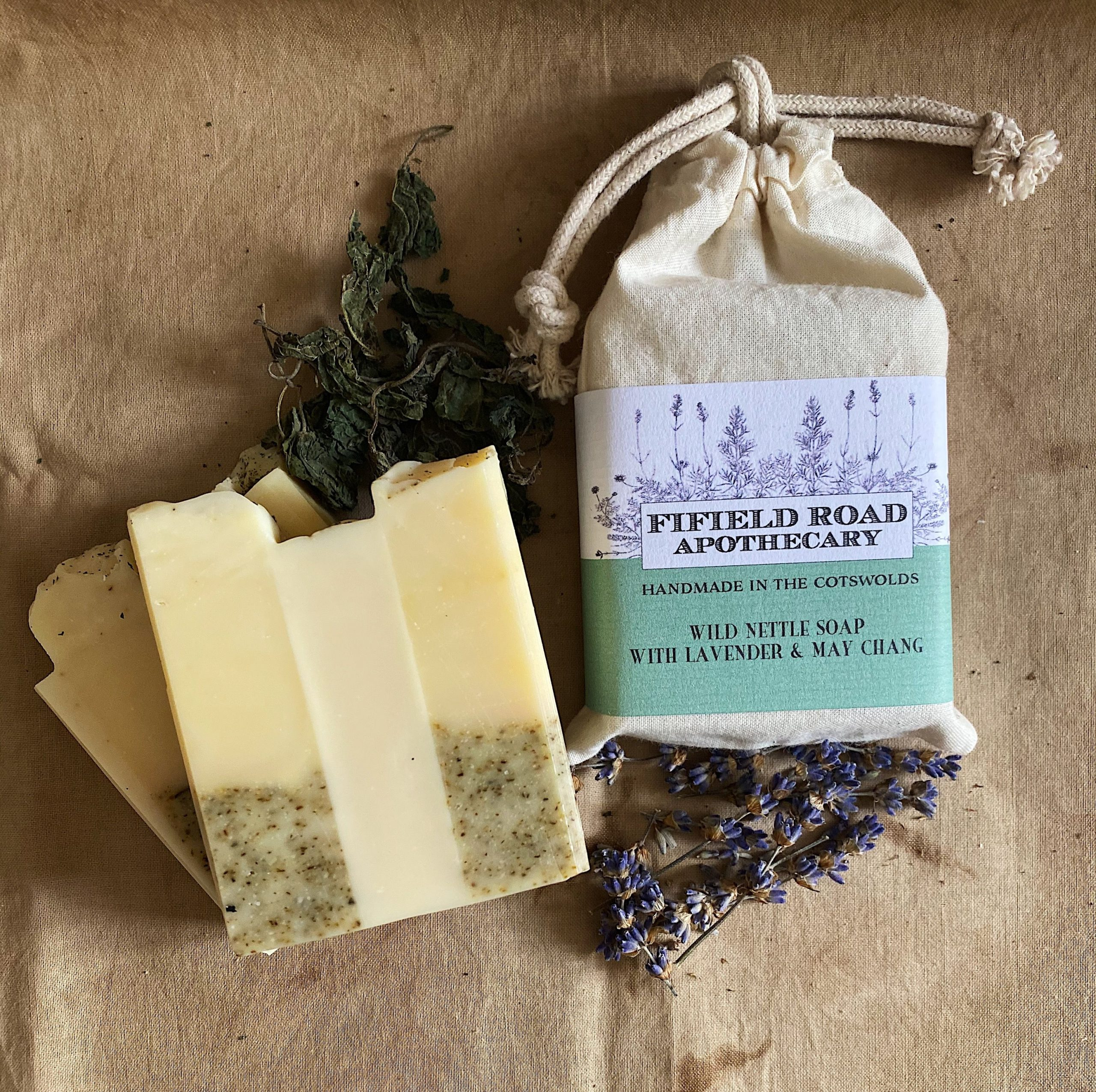 Nettle Soap with lavender and may chang by the Fifield Road Apothecary